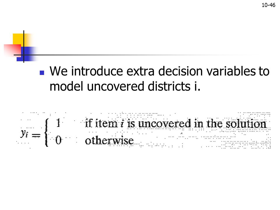 We introduce extra decision variables to model uncovered districts i.