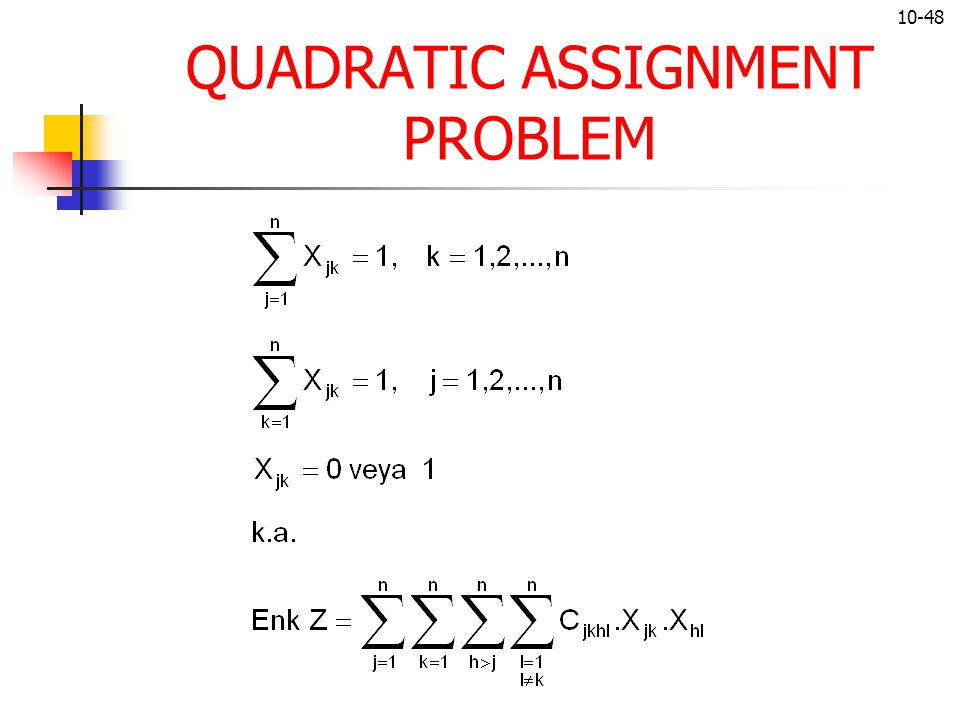 QUADRATIC ASSIGNMENT PROBLEM