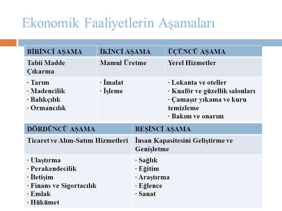 Ekonomik Faaliyetlerin Aşamaları