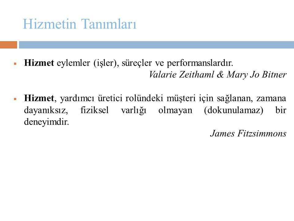 Hizmetin Tanımları Hizmet eylemler (işler), süreçler ve performanslardır. Valarie Zeithaml & Mary Jo Bitner.
