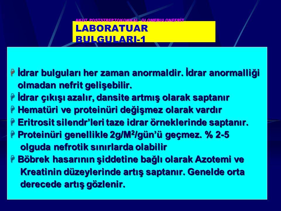 AKUT POSTSTREPTOKOKKAL GLOMERULONEFRİT LABORATUAR BULGULARI-1