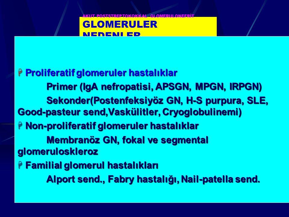 AKUT POSTSTREPTOKOKKAL GLOMERULONEFRİT GLOMERULER NEDENLER