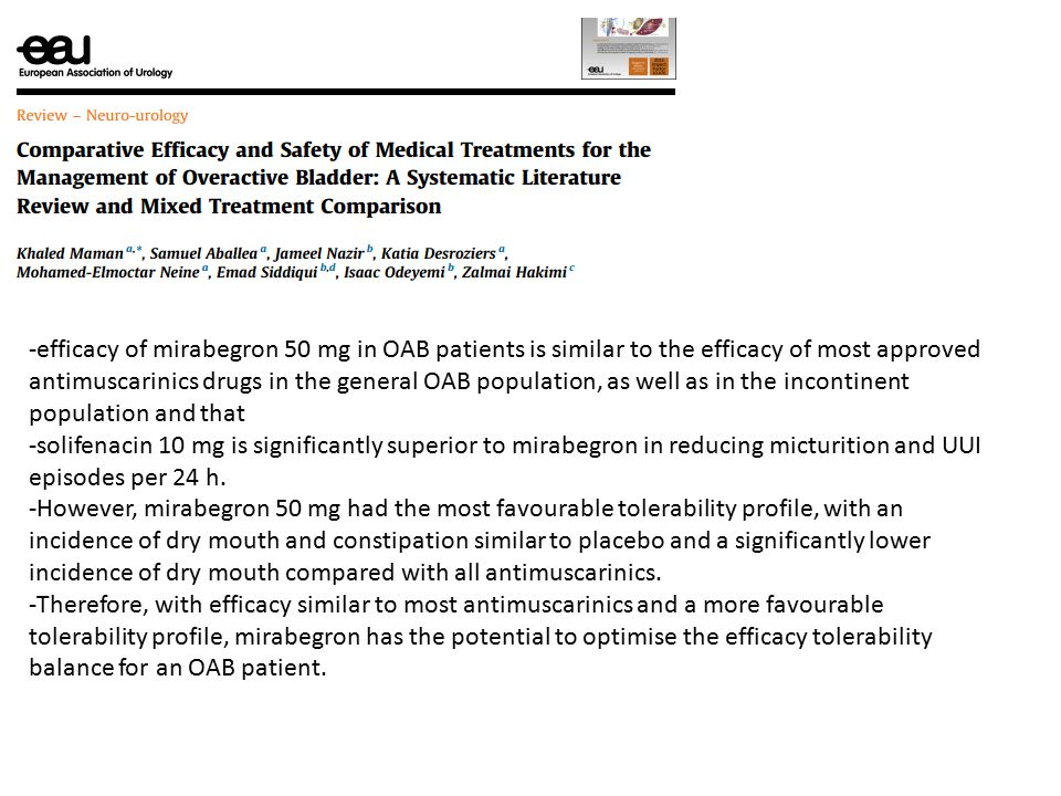 efficacy of mirabegron 50 mg in OAB patients is similar to the efficacy of most approved antimuscarinics drugs in the general OAB population, as well as in the incontinent population and that