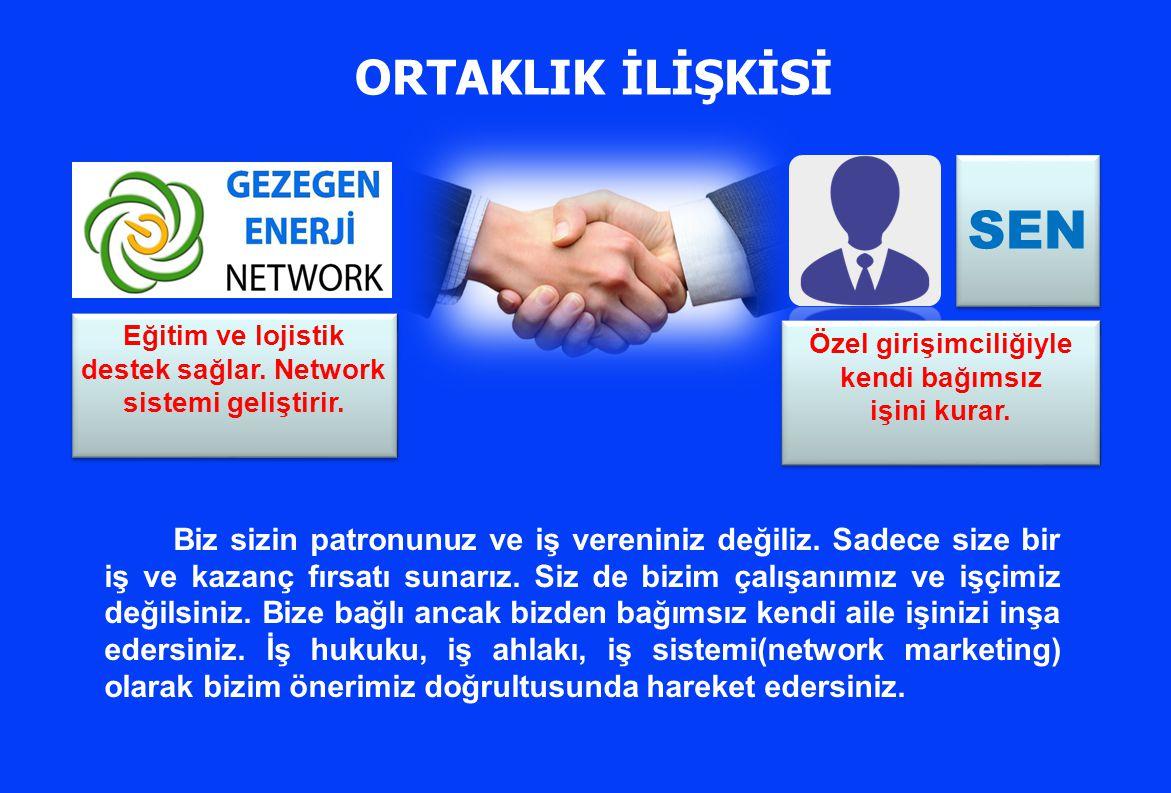 ORTAKLIK İLİŞKİSİ SEN. Eğitim ve lojistik destek sağlar. Network sistemi geliştirir. Özel girişimciliğiyle kendi bağımsız.