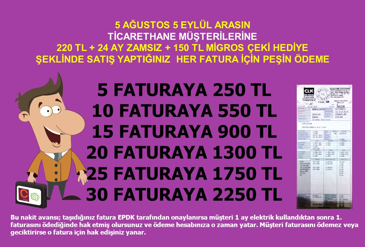 5 FATURAYA 250 TL 10 FATURAYA 550 TL 15 FATURAYA 900 TL