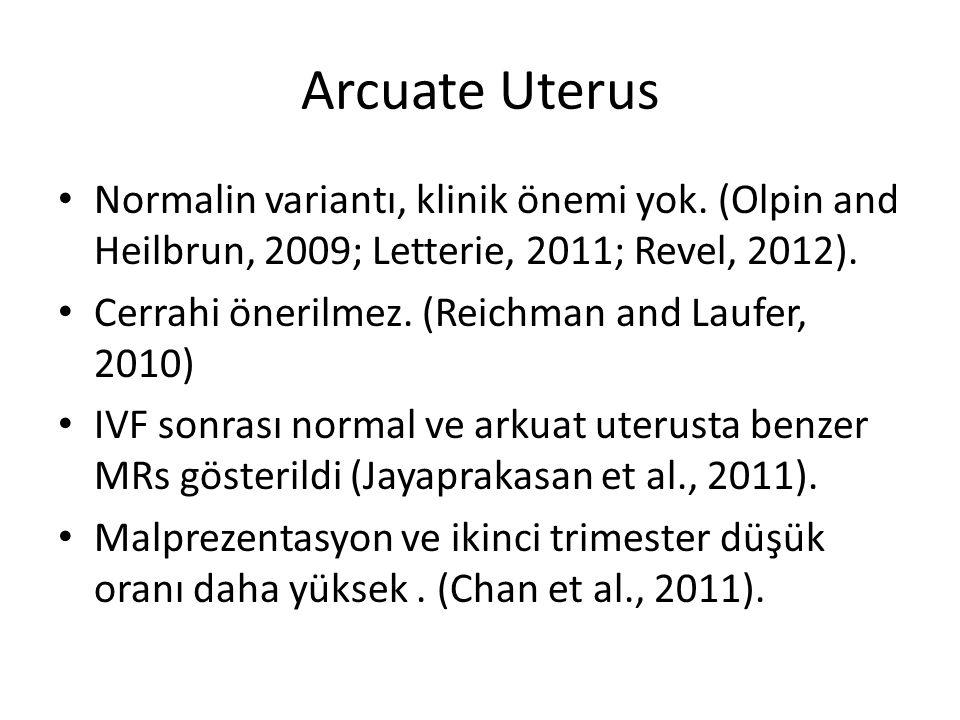 Arcuate Uterus Normalin variantı, klinik önemi yok. (Olpin and Heilbrun, 2009; Letterie, 2011; Revel, 2012).