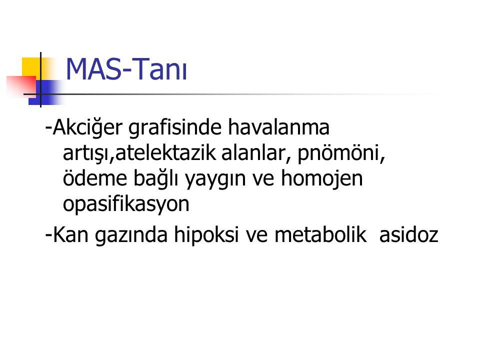 MAS-Tanı -Akciğer grafisinde havalanma artışı,atelektazik alanlar, pnömöni, ödeme bağlı yaygın ve homojen opasifikasyon.