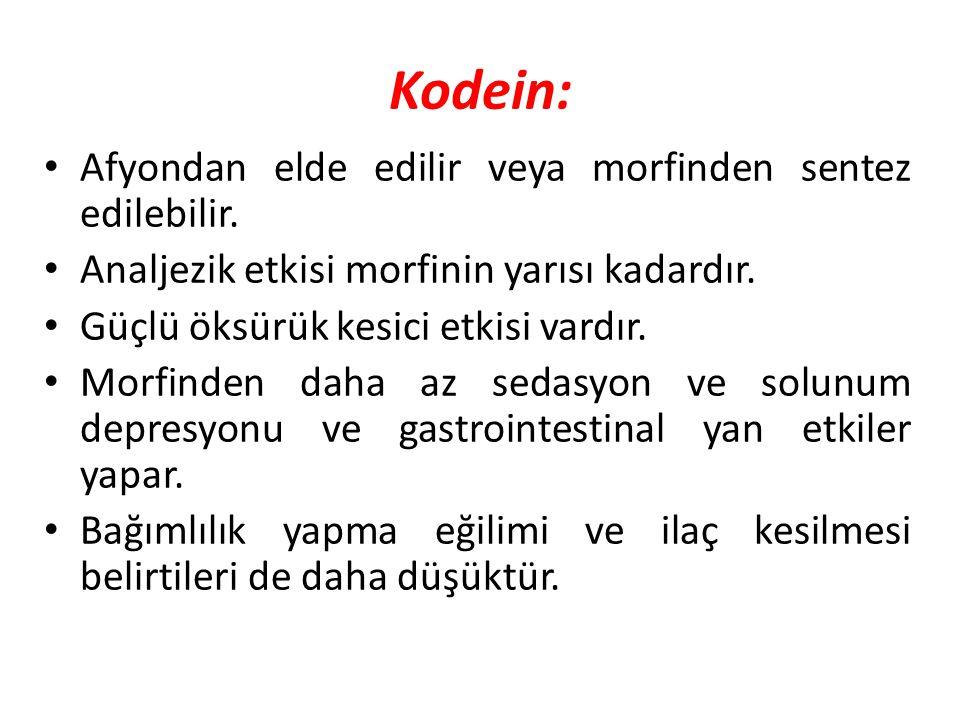 Kodein: Afyondan elde edilir veya morfinden sentez edilebilir.