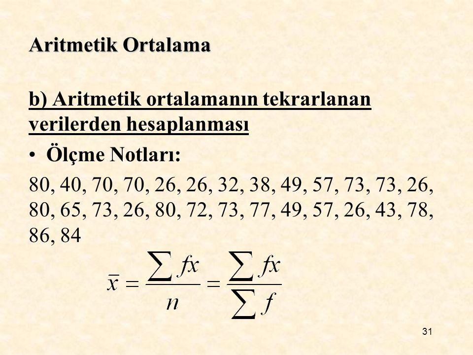 Aritmetik Ortalama b) Aritmetik ortalamanın tekrarlanan verilerden hesaplanması. Ölçme Notları: