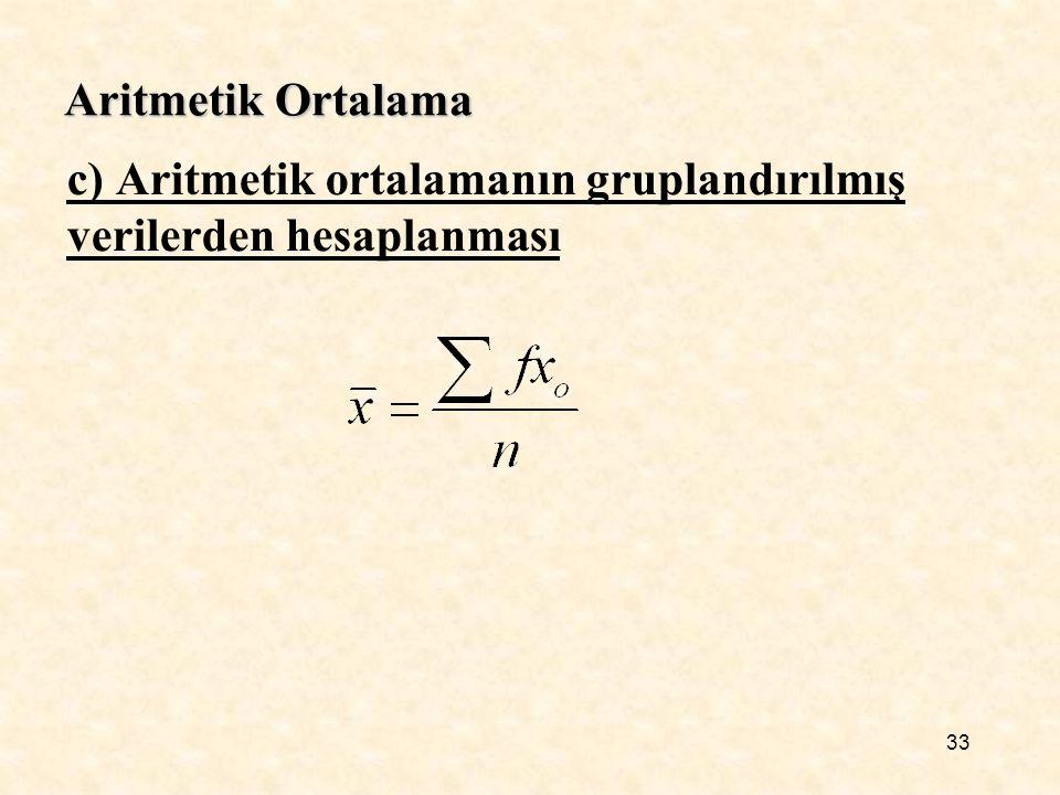 Aritmetik Ortalama c) Aritmetik ortalamanın gruplandırılmış verilerden hesaplanması