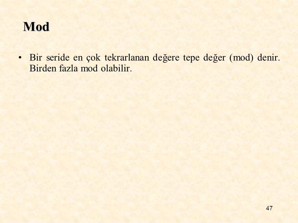 Mod Bir seride en çok tekrarlanan değere tepe değer (mod) denir. Birden fazla mod olabilir.