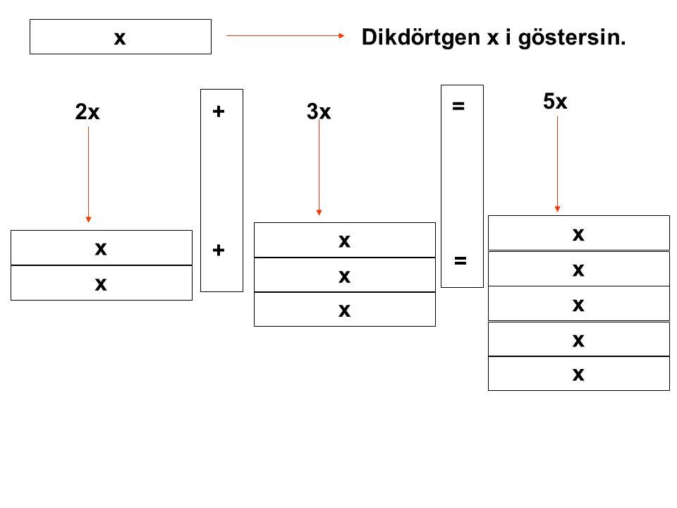 x Dikdörtgen x i göstersin. 5x = 2x + 3x x x x + = x