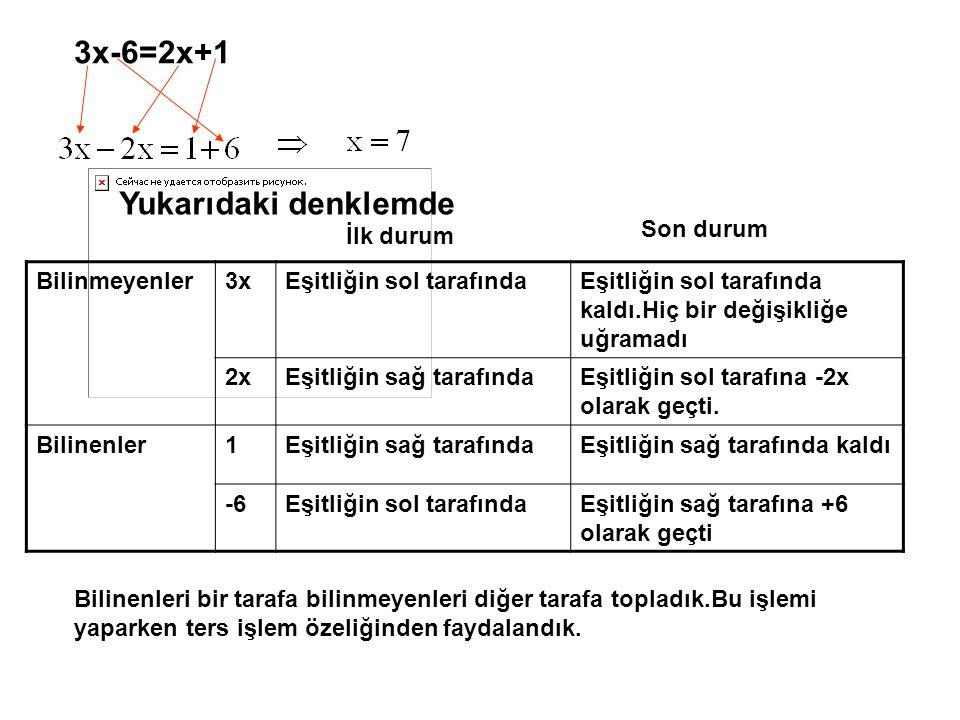 3x-6=2x+1 Yukarıdaki denklemde Son durum İlk durum Bilinmeyenler 3x