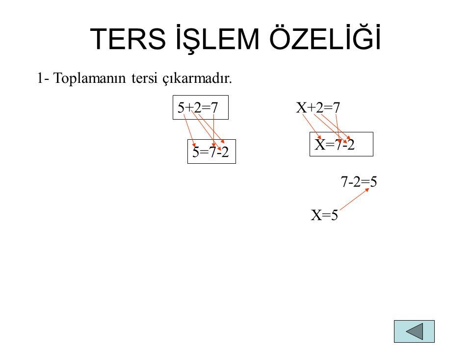 TERS İŞLEM ÖZELİĞİ 1- Toplamanın tersi çıkarmadır. 5+2=7 X+2=7 X=7-2