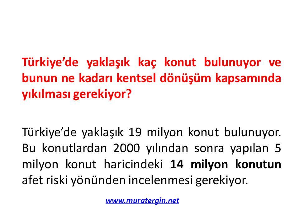 Türkiye'de yaklaşık kaç konut bulunuyor ve bunun ne kadarı kentsel dönüşüm kapsamında yıkılması gerekiyor Türkiye'de yaklaşık 19 milyon konut bulunuyor. Bu konutlardan 2000 yılından sonra yapılan 5 milyon konut haricindeki 14 milyon konutun afet riski yönünden incelenmesi gerekiyor.