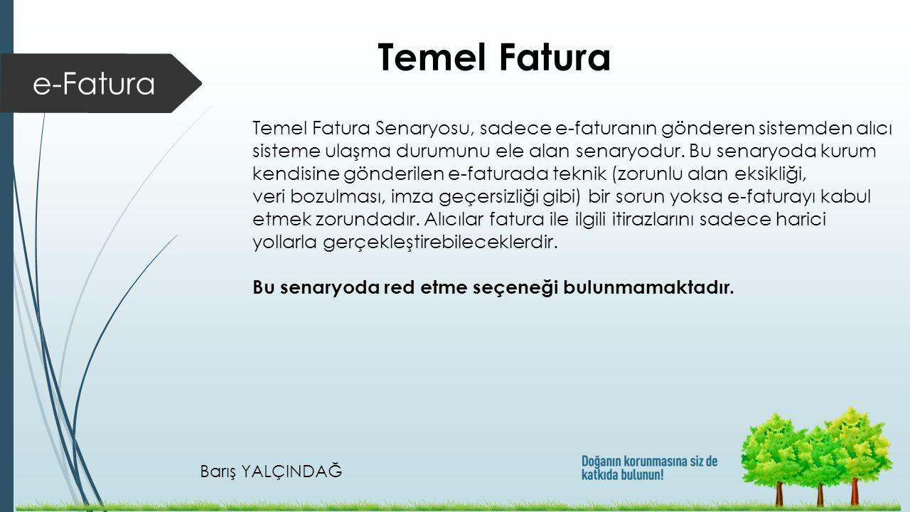 Temel Fatura e-Fatura. Temel Fatura Senaryosu, sadece e-faturanın gönderen sistemden alıcı.