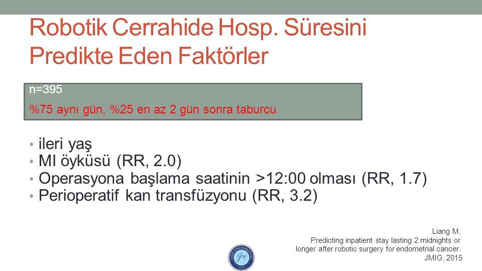 Robotik Cerrahide Hosp. Süresini Predikte Eden Faktörler