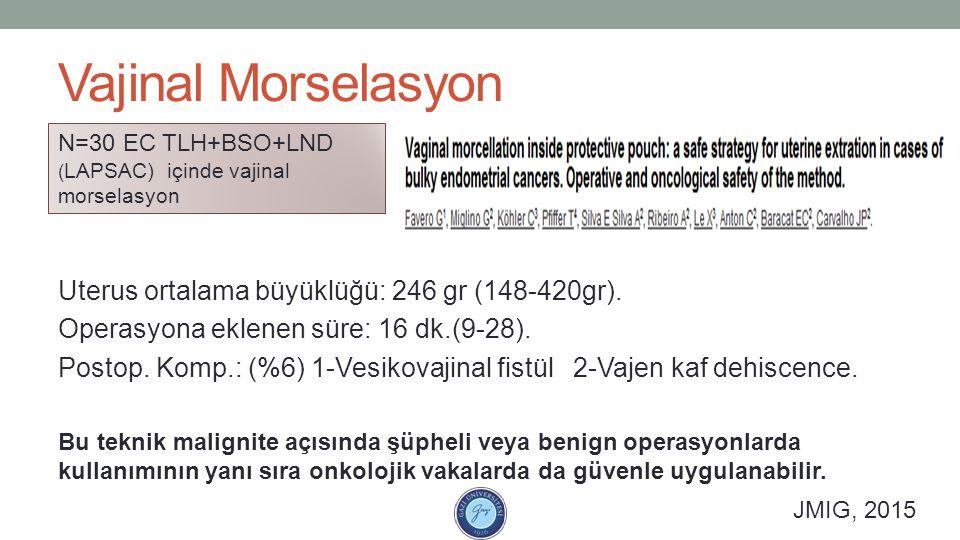 Vajinal Morselasyon Uterus ortalama büyüklüğü: 246 gr (148-420gr).