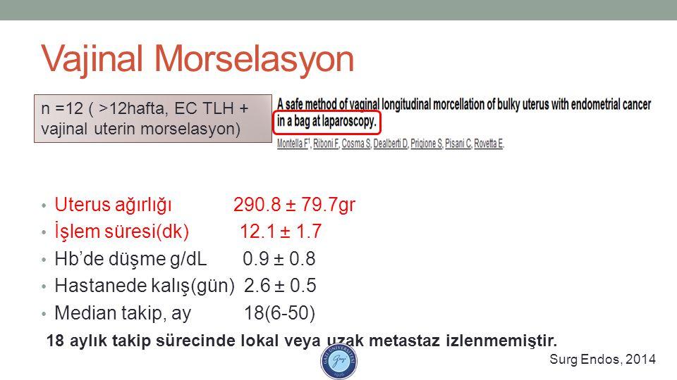 Vajinal Morselasyon Uterus ağırlığı 290.8 ± 79.7gr