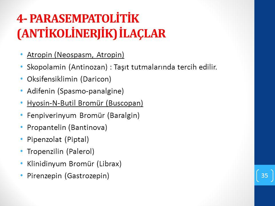 4- PARASEMPATOLİTİK (ANTİKOLİNERJİK) İLAÇLAR