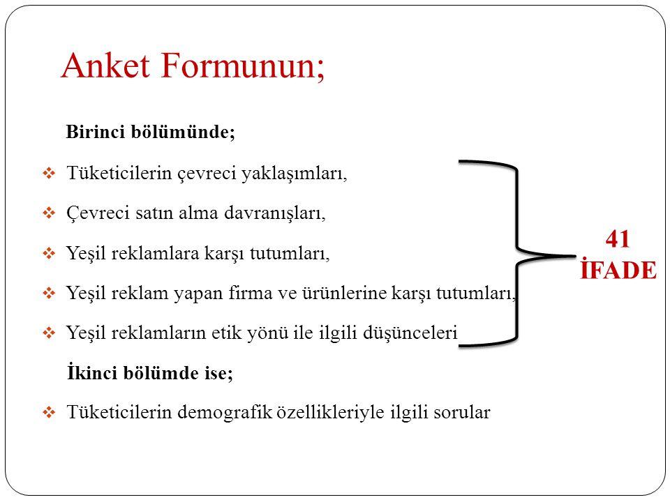 Anket Formunun; 41 İFADE Birinci bölümünde;