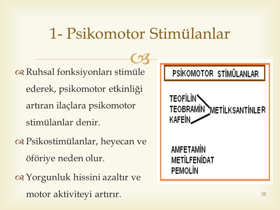 1- Psikomotor Stimülanlar