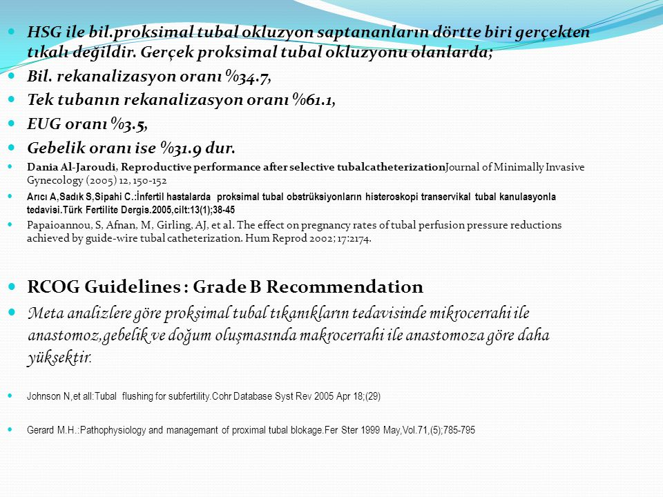 RCOG Guidelines : Grade B Recommendation