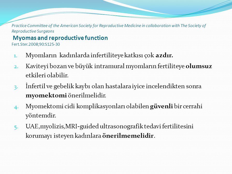 Myomların kadınlarda infertiliteye katkısı çok azdır.