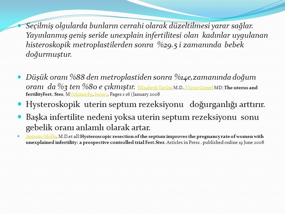 Hysteroskopik uterin septum rezeksiyonu doğurganlığı arttırır.