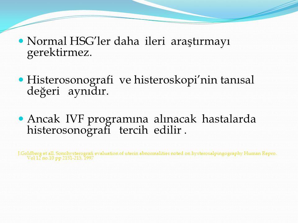 Normal HSG'ler daha ileri araştırmayı gerektirmez.