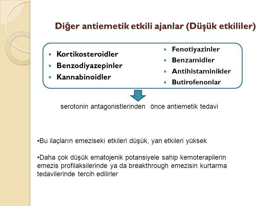 Diğer antiemetik etkili ajanlar (Düşük etkililer)