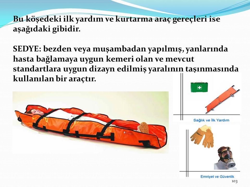 Bu köşedeki ilk yardım ve kurtarma araç gereçleri ise aşağıdaki gibidir.