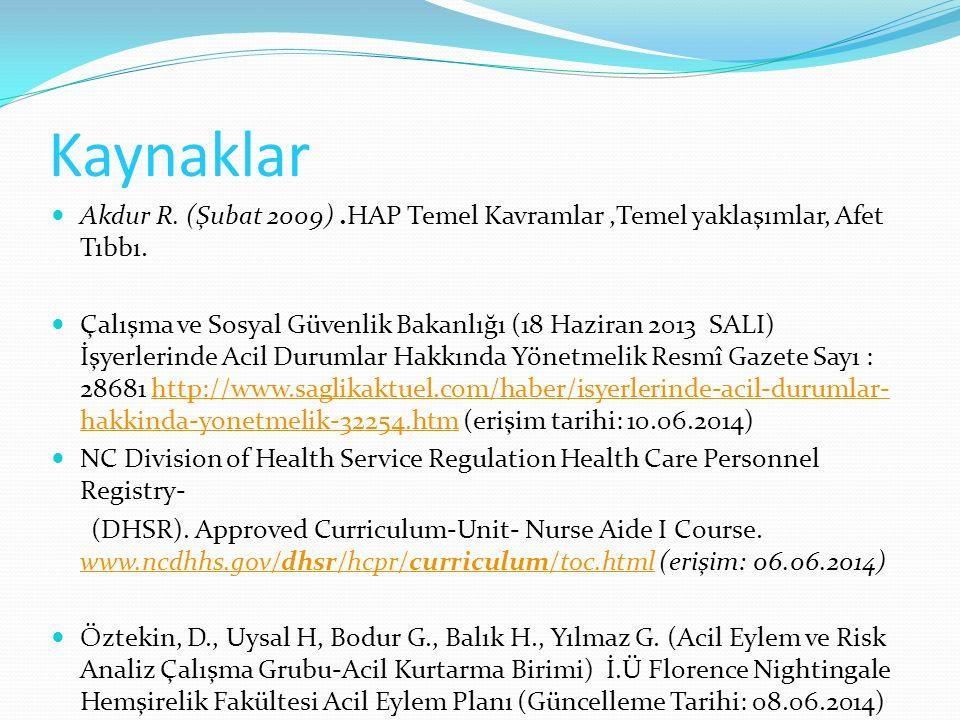 Kaynaklar Akdur R. (Şubat 2009) .HAP Temel Kavramlar ,Temel yaklaşımlar, Afet Tıbbı.