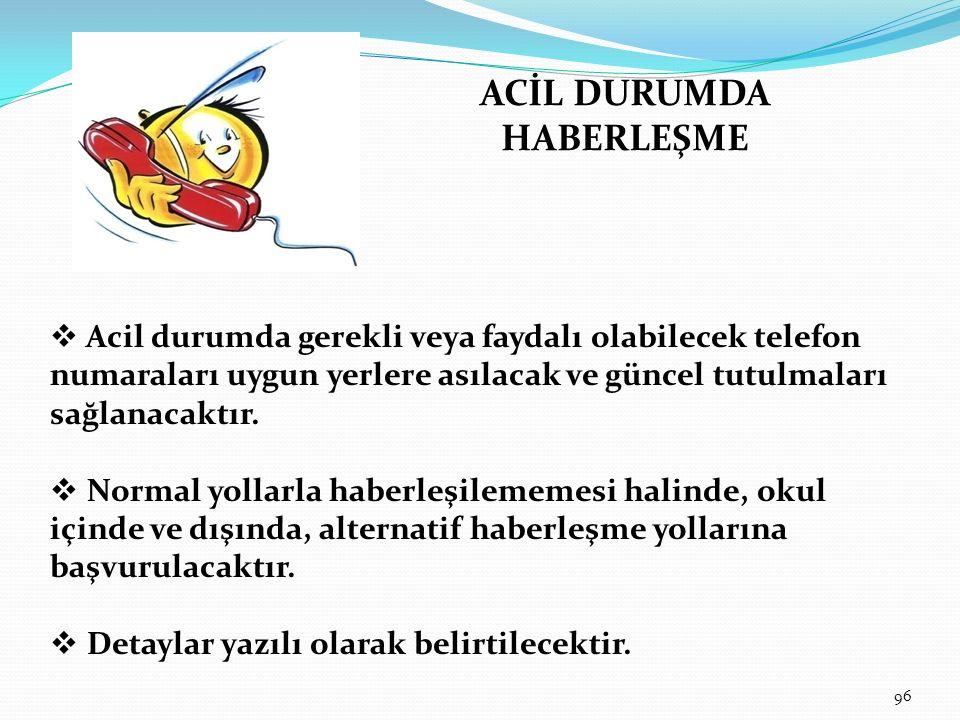 ACİL DURUMDA HABERLEŞME