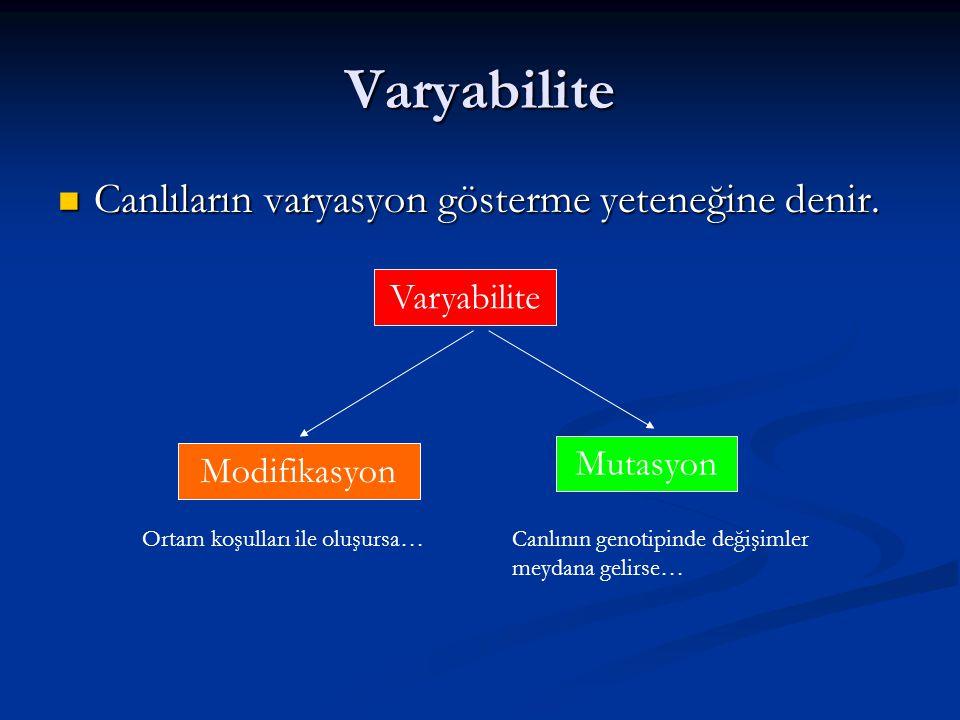 Varyabilite Canlıların varyasyon gösterme yeteneğine denir.