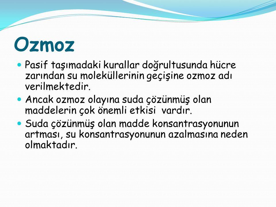 Ozmoz Pasif taşımadaki kurallar doğrultusunda hücre zarından su moleküllerinin geçişine ozmoz adı verilmektedir.