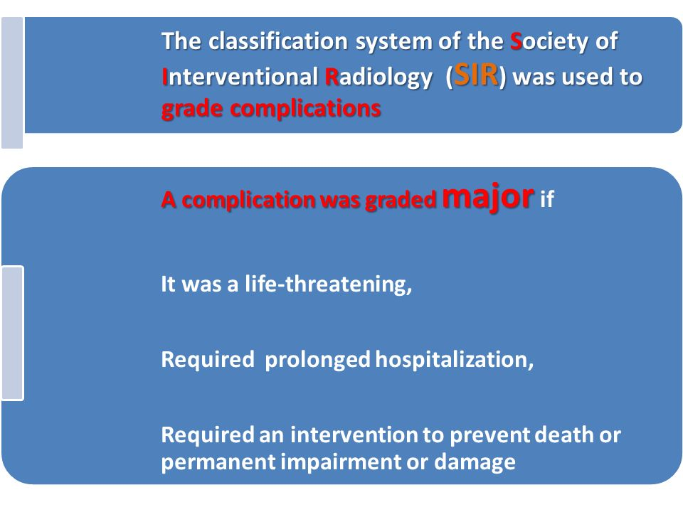 The classification system of the Society of Interventional Radiology (SIR) was used to grade complications