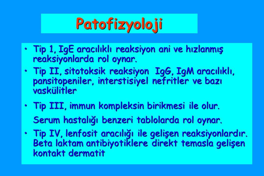 Patofizyoloji Tip 1, IgE aracılıklı reaksiyon ani ve hızlanmış reaksiyonlarda rol oynar.