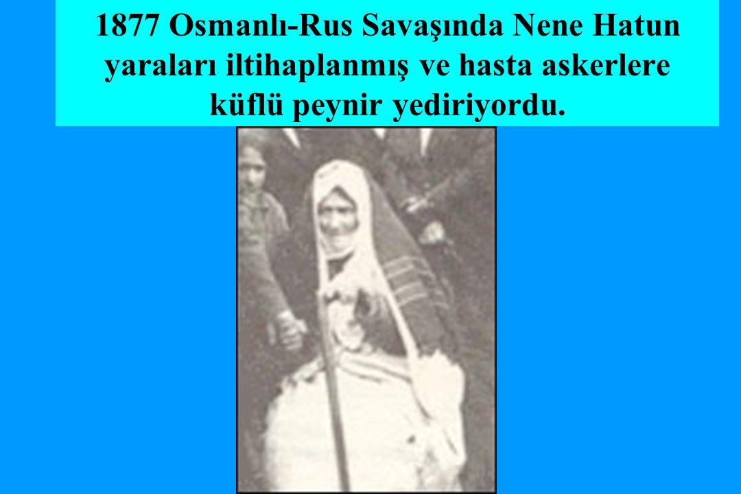 1877 Osmanlı-Rus Savaşında Nene Hatun yaraları iltihaplanmış ve hasta askerlere küflü peynir yediriyordu.
