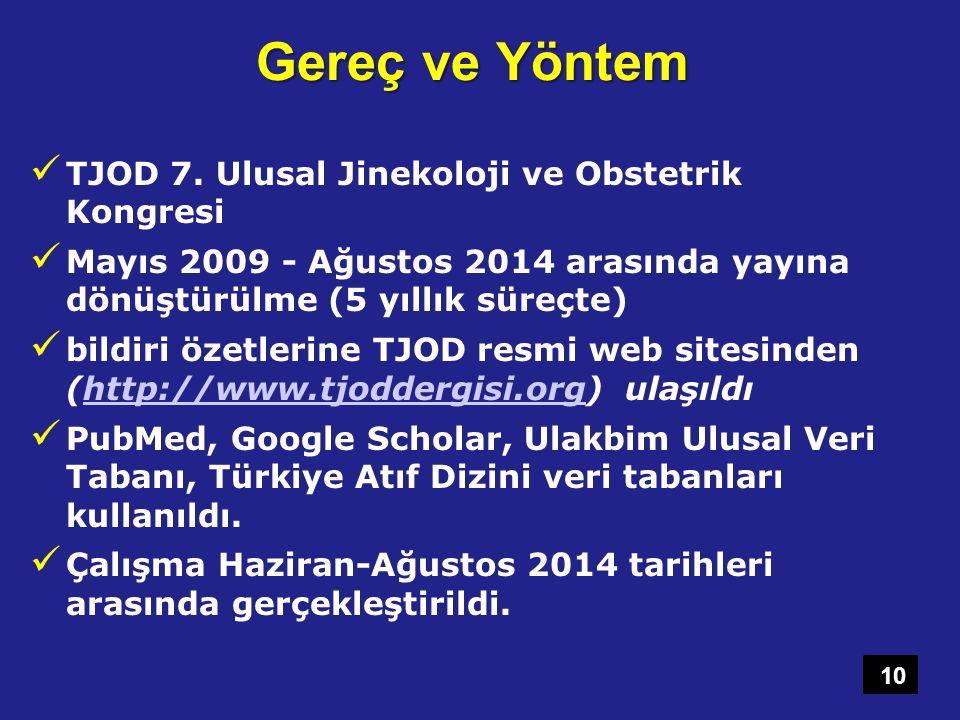 Gereç ve Yöntem TJOD 7. Ulusal Jinekoloji ve Obstetrik Kongresi