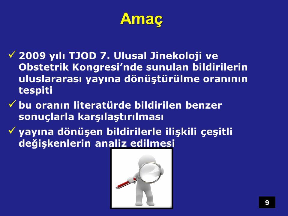 Amaç 2009 yılı TJOD 7. Ulusal Jinekoloji ve Obstetrik Kongresi'nde sunulan bildirilerin uluslararası yayına dönüştürülme oranının tespiti.