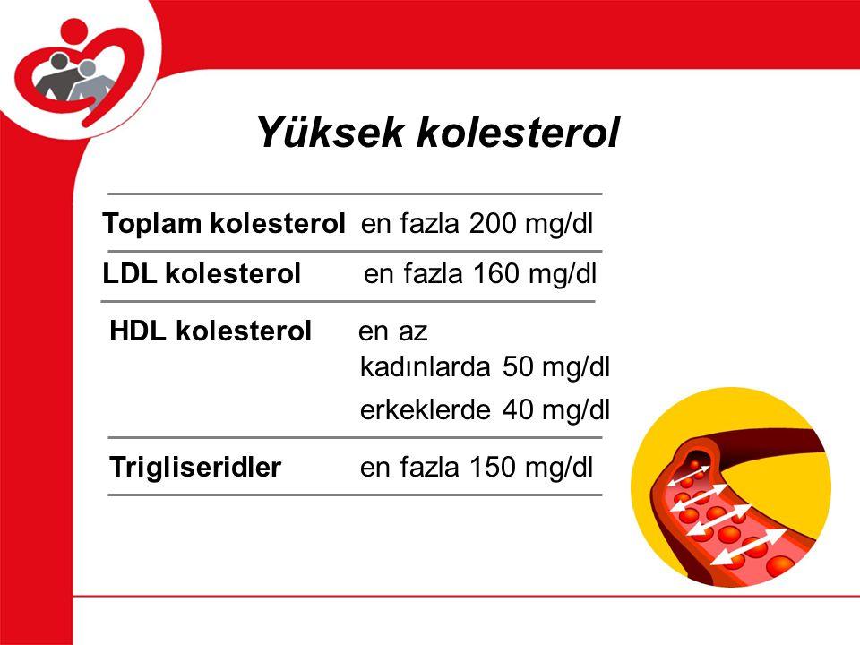 Yüksek kolesterol Toplam kolesterol en fazla 200 mg/dl