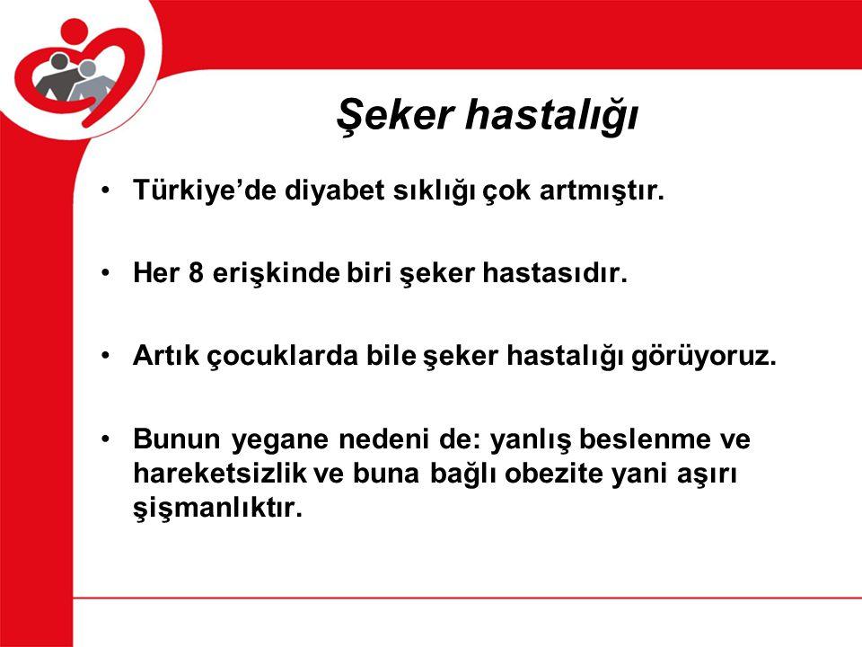 Şeker hastalığı Türkiye'de diyabet sıklığı çok artmıştır.