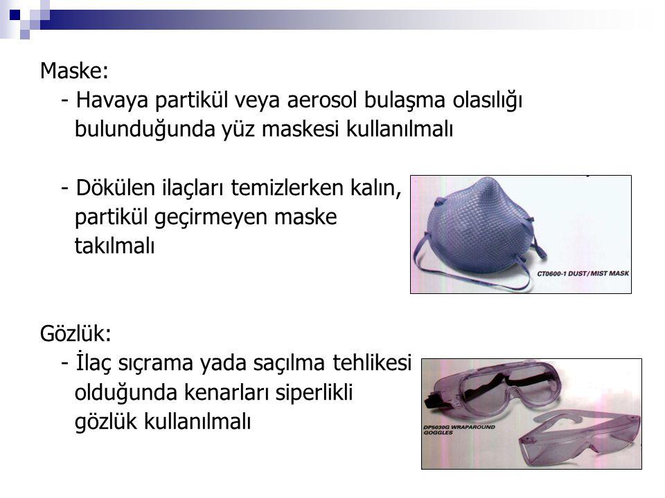 Maske: - Havaya partikül veya aerosol bulaşma olasılığı. bulunduğunda yüz maskesi kullanılmalı. - Dökülen ilaçları temizlerken kalın,