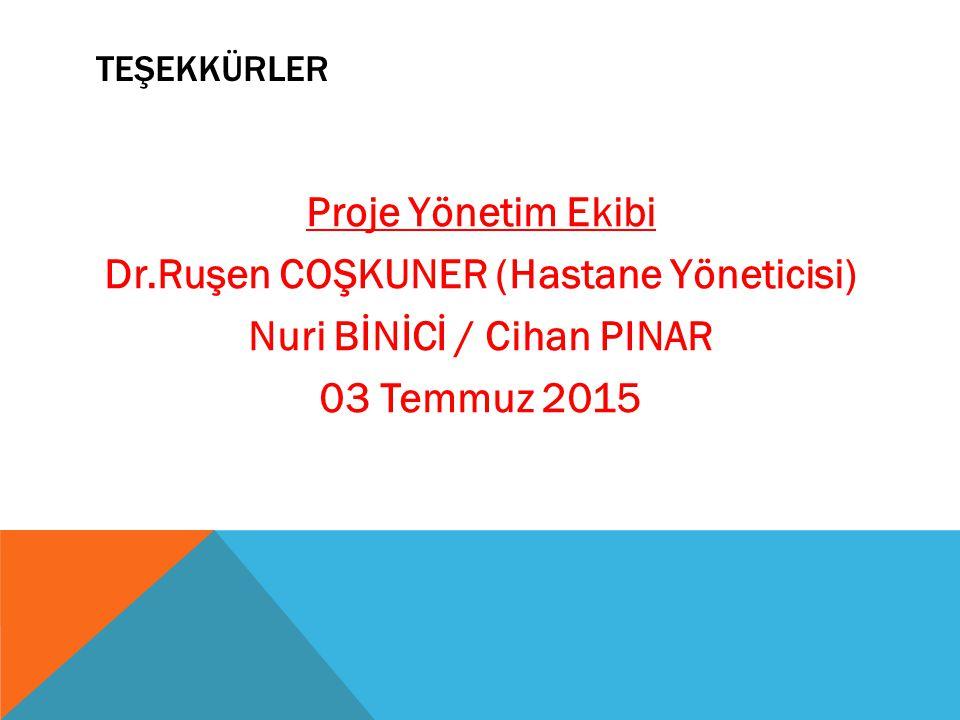 teşekkürler Proje Yönetim Ekibi Dr.Ruşen COŞKUNER (Hastane Yöneticisi) Nuri BİNİCİ / Cihan PINAR 03 Temmuz 2015