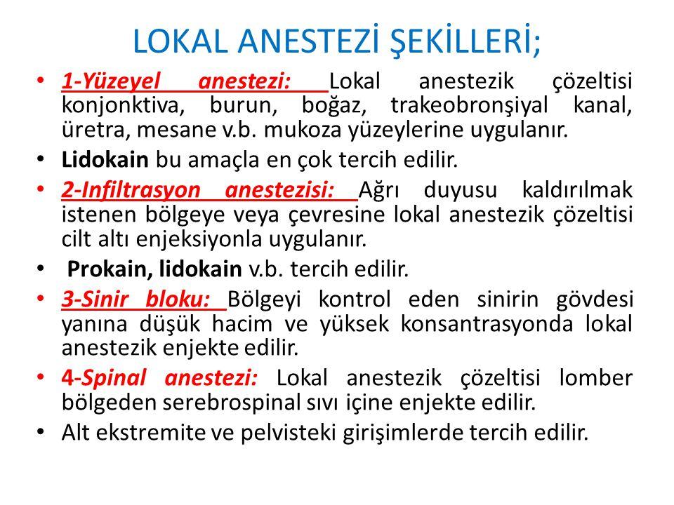 LOKAL ANESTEZİ ŞEKİLLERİ;