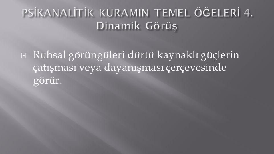 PSİKANALİTİK KURAMIN TEMEL ÖĞELERİ 4. Dinamik Görüş