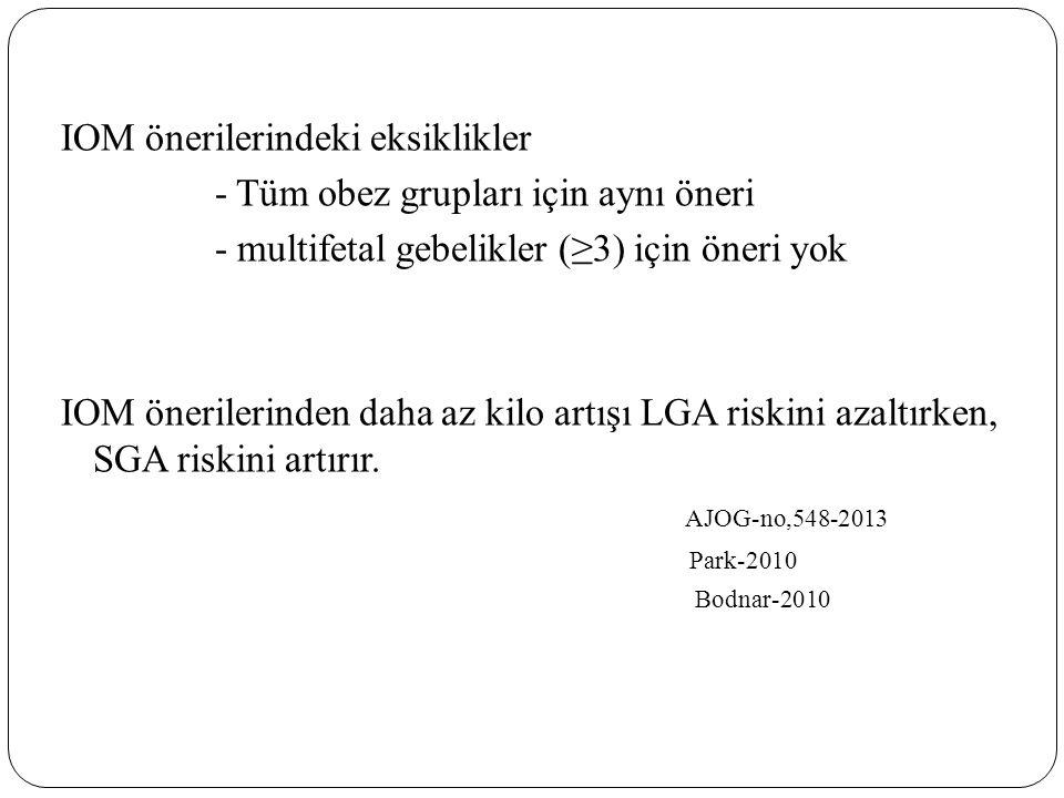 IOM önerilerindeki eksiklikler - Tüm obez grupları için aynı öneri