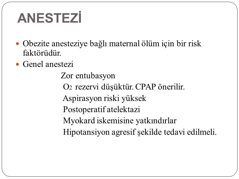 ANESTEZİ Obezite anesteziye bağlı maternal ölüm için bir risk faktörüdür. Genel anestezi. Zor entubasyon.