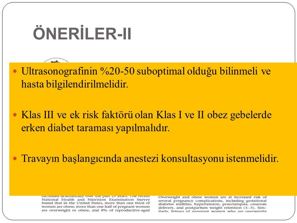 ÖNERİLER-II Ultrasonografinin %20-50 suboptimal olduğu bilinmeli ve hasta bilgilendirilmelidir.